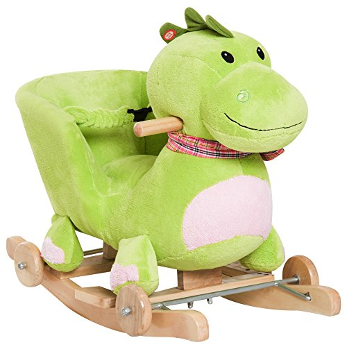 Qaba Kids Interactive 2-in-1 Plush Ride-On Stroller Rocking Dinosaur with Nursery Song