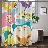 Pokemon Duschvorhang mit Haken, wasserdicht, Polyester, waschbar, prägnanter Stil, 111,8 x 160 cm