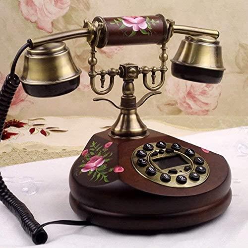 TAIDENG Teléfono de la decoración del Estilo Europeo del teléfono Antiguo, [Classic], Metal de Madera Maciza, [Retro], Estilo Europeo, Adorno de decoración de Escritorio para el hogar con Cable