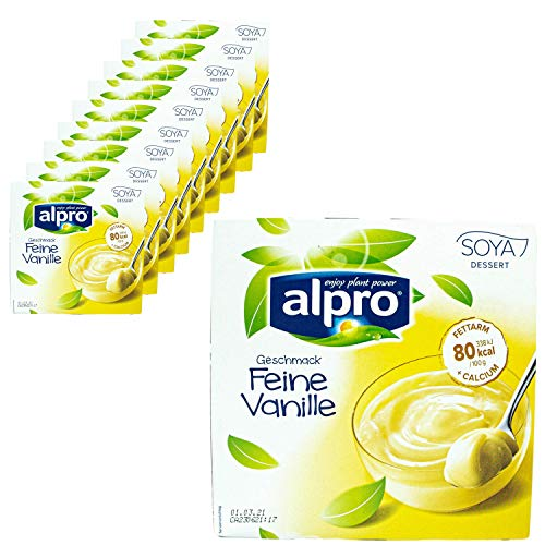 Alpro - 10er Pack Soja Dessert feine Vanille 500 g (4 x 125 g) - Soya Sojadessert Vanilla 100 % pflanzlich