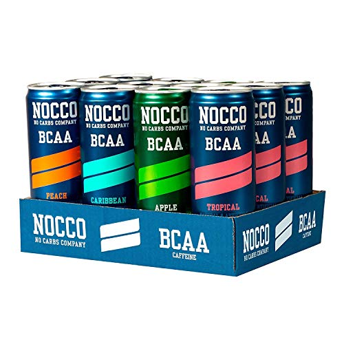 NOCCO BCAA Variety Pack 12 x 12 Fl Oz Carbonated, ZERO Sugar, Low Calorie, Ready to drink BCAA energy drink from fitness oriented No Carbs Company, Vitamin and Caffeine Flavored Carbonated Drinks