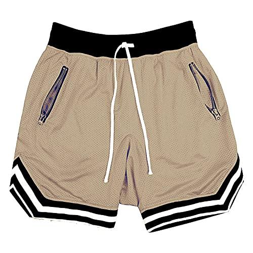 Katenyl Pantalones Cortos de Baloncesto de Secado rápido con Bloqueo de Color a Rayas para Hombre, Pantalones Cortos Informales Holgados de Malla Transpirable para Correr, Deportes y Correr 3XL