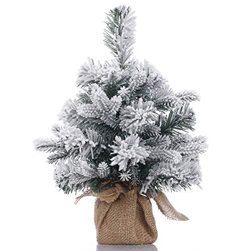 A-SZCXTOP - Mini albero di Natale con albero di Natale artificiale coperto di neve, per casa e ufficio, decorazione da scrivania, 30 cm