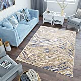 TAPISO Asthane Teppich Kurzflor Creme Beige Blau Modern Abstrakt Wellen Meliert Verwischt Design Wohnzimmer Schlafzimmer 80 x 150 cm