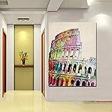 FOMBV Pintura Decorativa en Lienzo Impresión HD Abstracto Coliseo Romano Coliseo Big Ben Lienzo Pintura Pop Art Moderno Famoso Cuadro de Pared decoración para Sala de Estar pintura-60x80cm