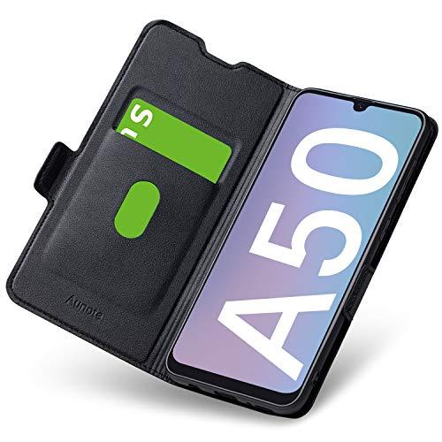 Aunote Samsung Galaxy A50 Hülle, Samsung A50 Schutzhülle mit Kartenfach, Handyhülle Tasche, Leder Etui Folio Flip Cover Hülle, PU TPU Klapphülle Komplettschutz Samsung A50 Phone 6.4 Zoll. Schwarz