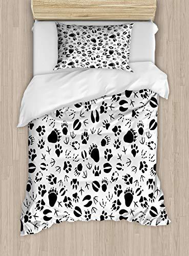 ABAKUHAUS Tierwelt Funda Nórdica, Huellas de Animales, Decorativo, 2 Piezas con 1 Funda de Almohada, 130 cm x 200 cm, En Blanco y Negro