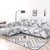 PCSACDF 1/2-teiliges Sofabezug-Set con geometrischen Sofabezügen elástico Sofabezug para Wohnzimmer-Haustiere ECK-Sofa en L con Chaiselongue, Color 4, 1-Seat 90-140cm