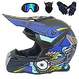 MRDEAR Adulto Cascos Motocross Set (Negro y Azul/Certificación Dot) Casco Cross con Gafas Máscara Guantes, Casco Moto MX Quad Off Road Enduro ATV Scooter para Mujer Hombre,XL