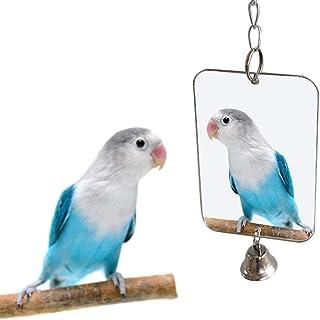 PULABO Oiseau Accessoires Perroquet Perruche Oiseau Miroir Suspendu Cloche Jouet Cage Décoration Décoration Fournitures Po...