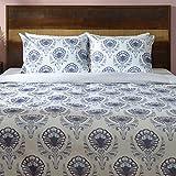 Deco Mex NH181615 WALERY, set di biancheria da letto in cotone satinato, panna, blu, taglia normale