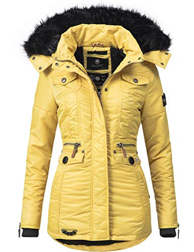 Navahoo Schätzchen Chaqueta Guateada de Invierno para Mujer con Capucha de Pelo sintético Amarillo XXL