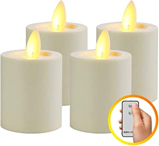 MaLivent Flameless Candles 4 Pack, Battery Operated Led Candles, Electric Candle Flameless Candle with Timer, Moving Wick Led Candles with Remote