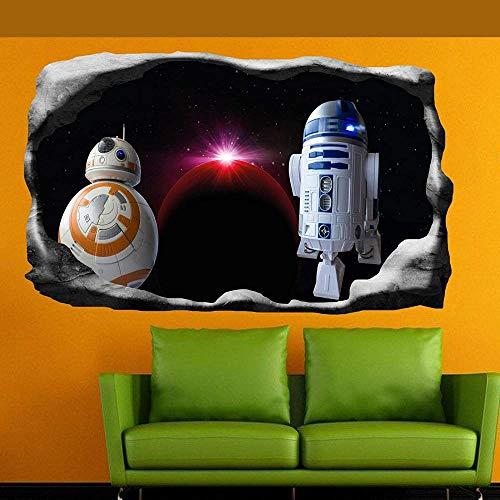 HUJL Wandtattoo Space Star Planets Robots Wall Sticker Art 3D Poster Decal Mural Decor