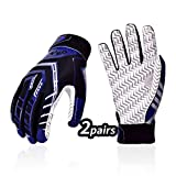 Vgo... 2Pairs Age 7-8 Kids Sticky Grip Flexible American Football Gloves Receiver Gloves(Size XL, Blue, MF2501)