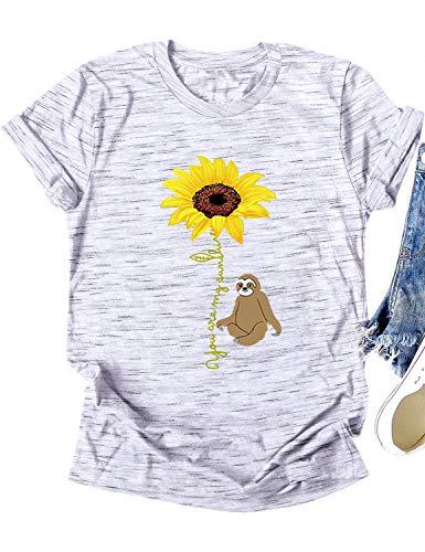 Dresswel Damen You Are My Sunshine Sonnenblume T Shirt Faultier Grafik Print Tee Shirts Oberteile Sommer Tops Bluse