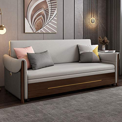 Solid Wood Sofa Bed,Modern Pull Out Couches,Multifunctional Folding Double Sofa Convertible Bed,for Living Room Furniture,Strong Bearing,Gray,2.02M