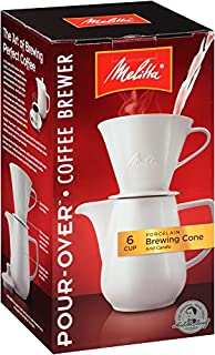 Melitta 6-Cup Pour Over Coffee Brewer w/Porcelain Carafe, White