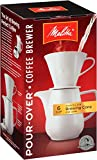 Melitta 36 oz. Pour Over Coffee Brewer with Porcelain Carafe, White