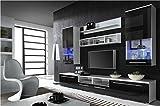 Furniture24 Wohnwand Luna mit LED Beleuchtung Wohnzimmer Möbel in Hochglanz (Weiß/Schwarz Hochglanz)