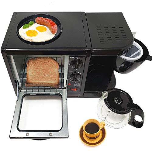 """3 in 1 Breakfast Maker Station Hub 500W 5L With( 650W 4 Cup Espresso Coffee Maker, Multi Function 500W/5L Toaster Oven, Non Stick 6"""" Griddle)Removable Crumb Tray Timer Control Glass Carafe-PFOA Free,ETL Approved-Black"""