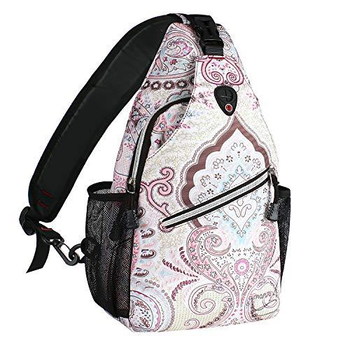 MOSISO Seil Brusttasche Sling Rucksack Schultertasche (Bis zu 13 Zoll), Polyester Crossbody Umhängetasche Reise Wandern Daypack für Männer Frauen Mädchen Jungen, Nationaler Stil