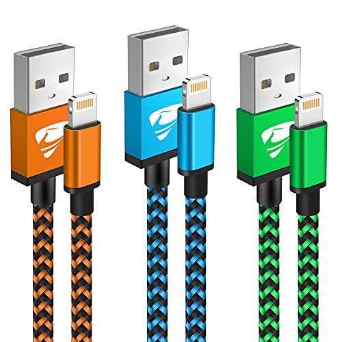 iPhone Ladekabel, Lightning Kabel [3Pack 1M] MFi Zertifiziert iphone kabel Nylon iphone schnellladekabel USB kabel für iPhone 12/12 Pro/12 Mini/11/SE 2020/XR/XS/X/8/7/6/6s Plus/5s/5,iPad Pro