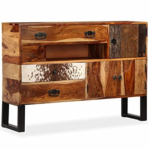 Sideboard Massivholz 115 x 30 x 80 cm,Massives Palisander-Holz Stahlfüße,Mit echtem Rindsleder-Detail,Handgeschnitzte Dekorationen