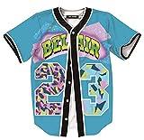 HOP FASHION Womens 90s Bel-Air Party Baseball Jersey Short Sleeve 3D Colorful 23 Print Button Dance Team Uniform Tops Shirts HOPM007-Turquoise-L