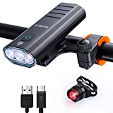 BenRich Bike Lights Set USB Rechargeable, 3000 Lumens Super Bright Bicycle Front