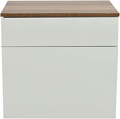 Modern Rectangle top Bedside Table with Pull Out Drawer in White - Yucad