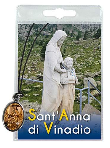 Medalla Santa Ana de Vinadio con cordón y oración en italiano