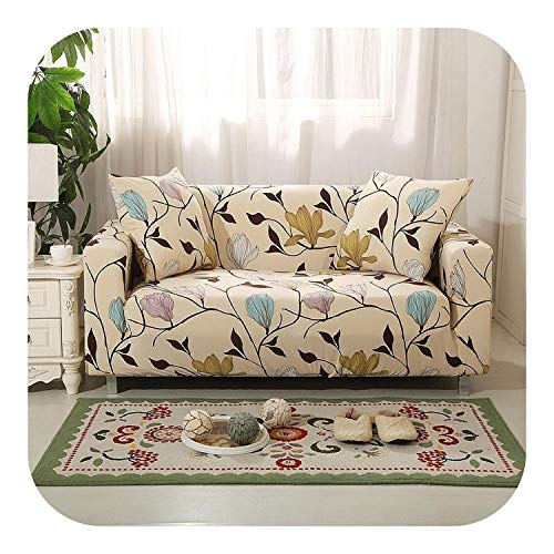 Sukyy Fashion Flower Plant Print Stretch Sofa Cover Elastic Loveseat Couch Covers for Living Room Dustproof All-Inclusive Slipcovers-Model 24-4 Seat (235-300cm)