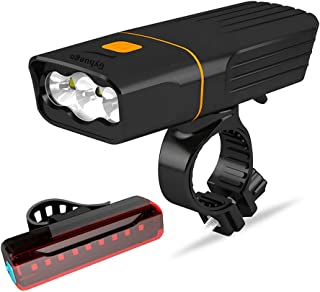 Gyhuego USB Rechargeable Bike Light Front, Super Bright 3 Led 3000 Lumens, Runtime 10hrs Waterproof Bicycle Headlight and Taillight, Free Bike Tail Light, Cycling Safety Flashlight