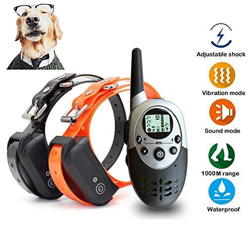 xuehaostore Collar de Adiestramiento para Perros, 1000 Metros, 4 Modos, Impermeable y...