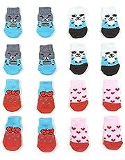 NA/4 pares de calcetines antideslizantes para perros y gatos con refuerzo de goma, protector de pata de mascota para suelos de madera dura, uso interior