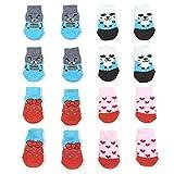 NA/ 4 pares de calcetines antideslizantes para perros y gatos con refuerzo de goma, protector para patas de mascotas para suelos de madera dura, uso en interiores (M)