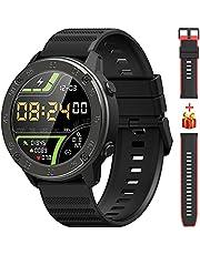 Smartwatch, IOWODO 1,3'' Touch Schermo Orologio Fitness Uomo Donna Con 2 Cinturino in Silicone, Impermeabile IP68,Cardiofrequenzimetro da Polso, Sportivi Contapassi Cronometro per Android iOS