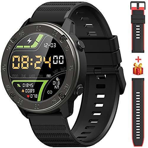 IOWODO X5 Smartwatch, Relojes Inteligentes Hombre - Impermeable IP68 | Esfera de Reloj de DIY | Tiempo | Caloría | Pulsometro | Sueño | 9 Deportes, Smartwatch Hombre para Android e iOS (2 Correas)