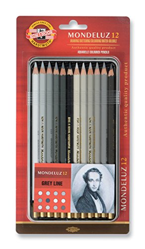 KOH-I-NOOR Mondeluz Grey Line Aquarell Coloured Pencils (Set of 12)