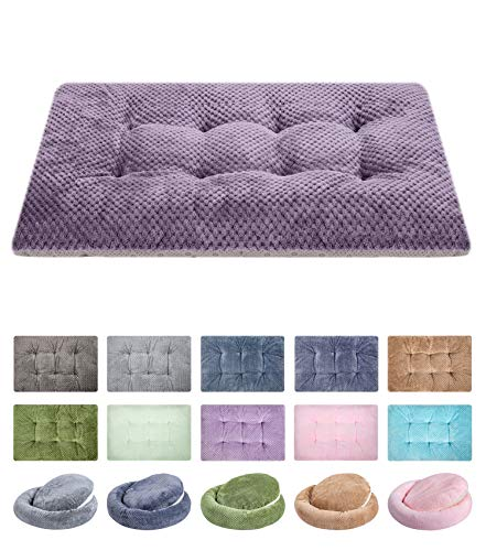 WONDER MIRACLE Fuzzy Deluxe Pet Beds, Super Plush Dog or Cat Beds Ideal for Dog Crates, Machine Wash & Dryer Friendly (23' x 35', L-Grape Purple)