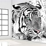 Fiartel Benutzerdefinierte 3D Fototapete Schwarz Weiß Tier Tiger Wandmalerei Wohnzimmer Schlafzimmer Eingang Hintergrund Wandbild Tapete-200X150CM
