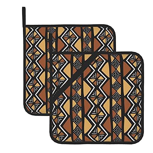 Juego de 2 soportes para ollas de cocina resistentes al calor y manoplas de horno, paño de barro africano para cocinar a la parrilla, almohadillas de aislamiento de microondas