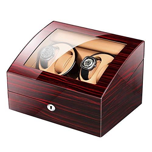 GLXLSBZ Caja enrolladora de Reloj automática con 4 Posiciones de enrollador, 4 Modos Carcasa de Madera Pintura de Piano Brillo Negro 6 Espacios de Almacenamiento