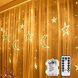 Vegena - Cortina de luces LED, 3,5 m, estrellas y lunas, funciona con pilas, con mando a distancia, 8 modos de parpadeo, para jardín, casa, decoración de color blanco cálido