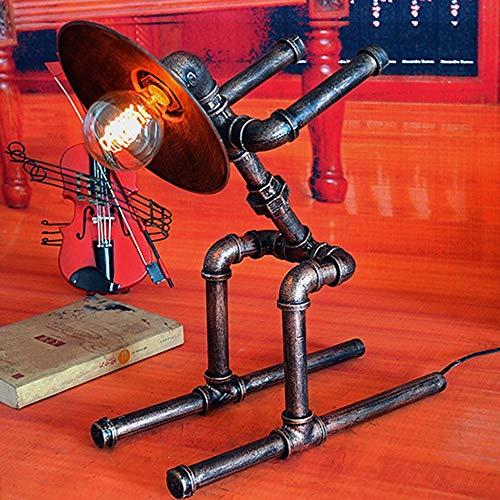 Lámpara Escritorio Lámpara de iluminación de barra de estilo industrial, lámpara de mesa de tubo de agua Decoración, lámpara de robot de hierro creativa y personalizada (41 * 22.5 * 49cm, boca de torn