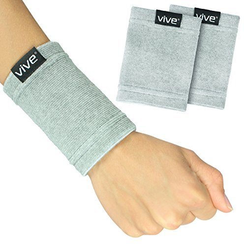 Vive Wrist Sweatbands (Pair) - Bamboo Charcoal Compression Wristband - Athletic Support for Carpal Tunnel Pain Relief, Arthritis, Tendonitis and Tennis (Gray, Small/Medium)