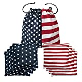 Cornhole Bags All Weather Premium Duckcloth Cornhole Bean Bags for Cornhole Toss Games Set of 8 American Flag Regulation Weight & Size - Includes Tote Bags