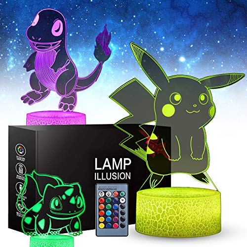 SJIAHEE 3D Pikachu Toys Night Light - Three Patterns and 16 Color Change Decor Lamp with Remote Control, Christmas Gifts for Kids, Boys, Girls