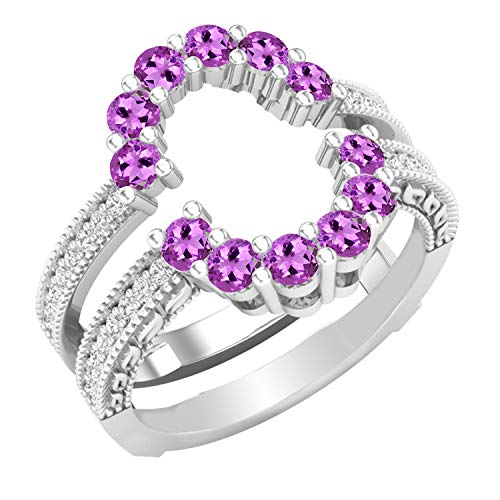 Dazzlingrock Collection Round Amethyst & White Diamond Ladies Enhancer Guard Double Wedding Ring, Sterling Silver, Size 7